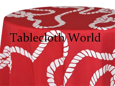 Nautical Knot White on Red Print Tablecloths