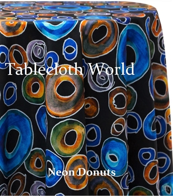 Neon Donuts Custom Print Tablecloths