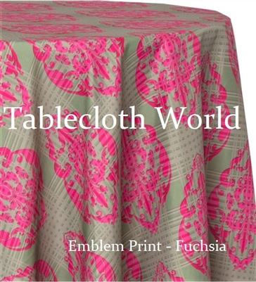 Emblem Fuchsia Custom Print Tablecloths