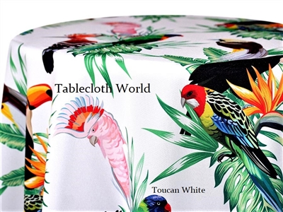 Toucan White Custom Print Tablecloths