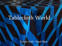 Tower Grid Steel Blue Custom Print Tablecloths