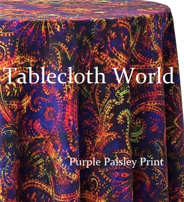 Purple Paisley Custom Print Tablecloths