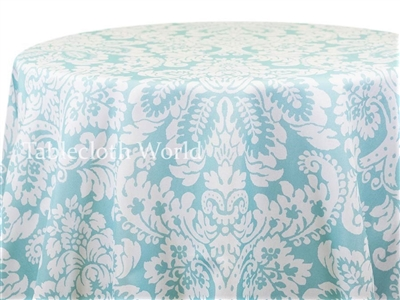Capua Damask Print Tablecloths Light Blue