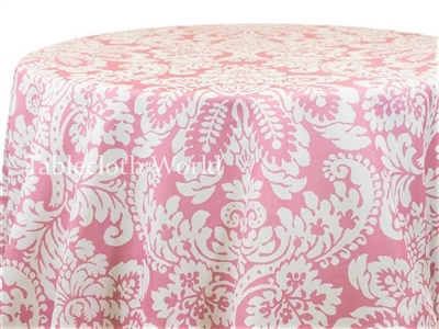 Capua Damask Print Tablecloths Pink