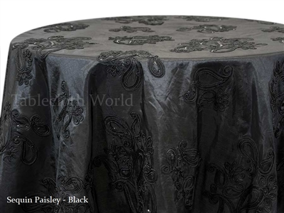 Sequin Paisley Black Tablecloths
