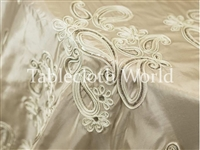 Sequin Paisley Ivory Tablecloths