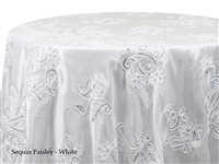 Sequin Paisley White Tablecloths