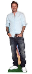 life size cardboard cutout of david beckham in jeans and button down shirt