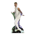 life size justin bieber in white tracksuit cardboard cutout