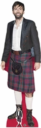 David Tennant Wearing Kilt Cutout This Standee Includes mini cut out of David Tenant wearing his kilt so you can take him with you everywhere. This stand up cut out is the perfect birthday cut out, event stand up and cardboard person who you want.