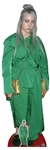 CS804 Billie Eilish Green Suit Gold Bag Lifesize Cardboard Cutout with Free Mini Table Top Standee Height 161cm