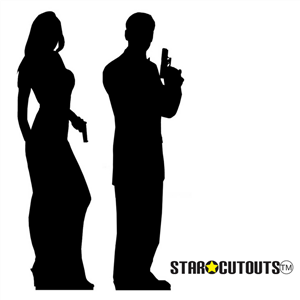 Manufactured by Star Cutouts Secret Agent Male and Female Double Black Silhouette Lifesize Cardboard Cutout