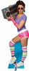 Star Cutouts Ltd SC1023 80's Neon Boombox Girl  Lifesize Cardboard Cutout Perfect for 1980s Parties, Displays and Events Height 177cm