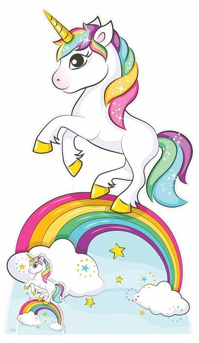 Star Cutouts Rainbow Unicorn Lifesized