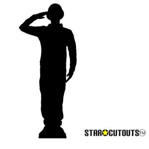 Star Cutouts Soldier Salute Silhouette (WW1)  Black 1918 Centenary