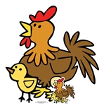 Star Cutouts Ltd SC1447 Cute Chicken with Chicks Farmyard Animal Perfect for Parties, Events, Table Decorations and Birthdays