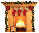 SC1458 Star Cutouts Christmas Fireplace Festive 1 Dimensional Cardboard Cutout Display Perfect Christmas Decoration for Santa Scenes including Shop Windows, Office Parties and the Home Height 101cm