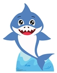 Star Cutouts SC1545 Boy Baby Shark (Blue) Mini Cardboard Cutout Height 93cm Width 72cm
