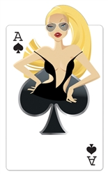 Ace of Spades 'Babe' Playing Card perfect for those having a casino theme party or looking for Vegas style inspiration.
