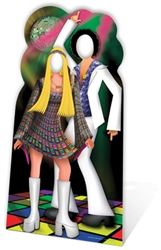 Star Cutouts Ltd SC190 Disco Couple Stand- In Large Cardboard Cutout  Perfect for 1970s Fans, Parties and Event Decoration Height 190cm
