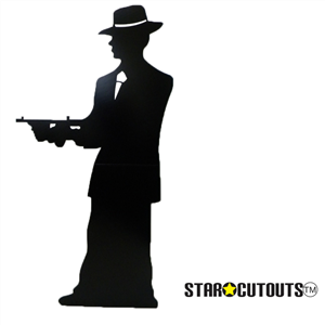Gangster silhouette (single) Black Lifesize Cardboard Cutout