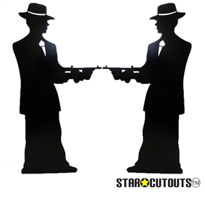 Star Cutouts Original Gangster silhouette (double pack) Black Lifesize Cardboard Cutouts