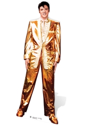 Lifesize Cardboard Cutout of Elvis Presley wearing famous Gold Shining Suit Perfect for Elvis Parties and Fans 182cm Tall