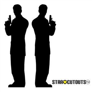 Star Cutouts Secret Agent Male Silhouette Black Double Pack Lifesize Cardboard Cutouts