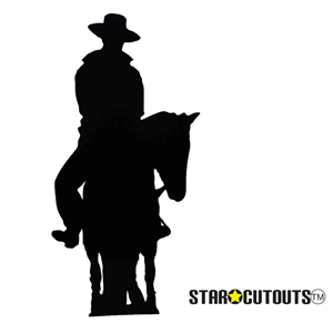 Star Cutouts Cowboy on Horse (Silhouette) Black Lifesize Cardboard Cutout