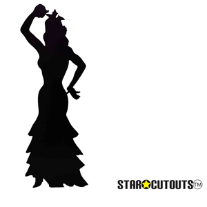 Star Cutouts Flamenco Dancer (Silhouette) Black Lifesize Cardboard Cutout