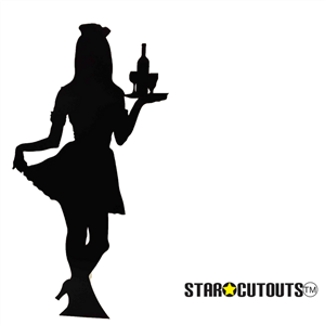 Star Cutouts Waitress (Silhouette) Black Lifesize Cardboard Cutout