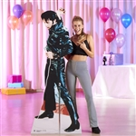 Star Cutouts Ltd SC594 Elvis Black Leather Lifesize Cardboard Cutout Perfect for Festivals, Decades Parties and Fans Height 184cm