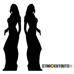 Star Cutouts Secret Agent Girl Silhouette Black Lifesize Cardboard Cutouts