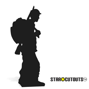 Star Cutouts Soldier Silhouette Black 1918 Centenary Single Lifesize Cardboard Cutout
