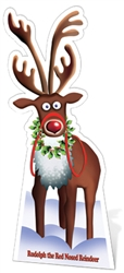 Star Cutouts Ltd SC90 Rudolph the Red Nosed Reindeer Large Cardboard Cutout Perfect for School Christmas Decorations, Parties and Events Height 183cm