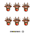 Star Cutouts Ltd SMP136 Rudolph the Red Nose Reindeer Six Pack of Masks Ideal for Childrens Christmas Parties, Schools and Shop Windows