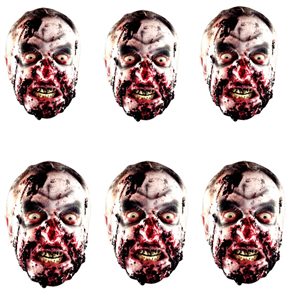 SMP139 Star Cutouts Six Pack Zombie Face Masks Halloween, Horrror, Monster Party and Event Great Talking Point for Friends, Fans and Family