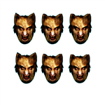 SMP141 Star Cutouts Werewolf Six Pack Face Mask Halloween, Horrror, Monster Party and Event Great Talking Point for Friends, Fans and Family