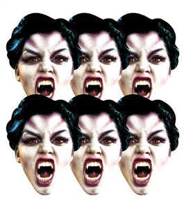 SMP143 Star Cutouts Vampire Six Pack Face Mask Halloween, Horrror, Monster Party and Event Great Talking Point for Friends, Fans and Family
