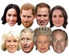 Royals 8 Pack CARDBOARD FACE MASKS (Queen, Phillip, William, Kate, Charles, Camilla,  Harry Beard, Meghan)