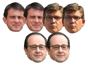 SMP414  Amazing Six Pack of Masks Includes 2 x Manuel Valls 2 x Francois Hollande 2 x Arnaud Montebourg