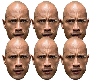 SMP4155 The Rock WWE Masks  6 Pack of Wrestling Masks Great fun for family, friends and fans.