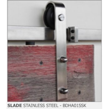 Slade Stainless Steel Finish Barn Door Hardware Kit