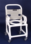 "PVC Anthros 16"" Wide Fold-Down Arm Shower Chair with 3"" Casters C1620"