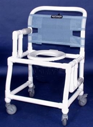 "PVC Anthros 21"" Wide Fold-Down Arm Shower Chair with 4"" Casters C2120"