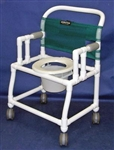 "PVC Anthros 24"" Wide Fold-Down Arm Shower Chair with 5"" Casters and Pail 400 lbs capacity"