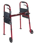 "Drive Deluxe, Folding Travel Walker, 5"" Front wheels"