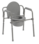 Drive Folding Steel Commode with Padded Armrests RTL11148KDR