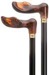"Unisex palm grip handle- amber acrylic, black stained hardwood shaft, 36"" long"
