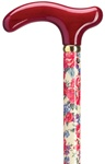 Ladies Primrose Print on Maple Wood Shaft with Color Coordinated Burgundy Solid Wood Fritz Handle and Brass Band